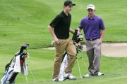 Brenan Moroney talks with Tanner Kopan prior to firing a 66 Sunday at Granite Pointe.  Bruce Fuhr photo